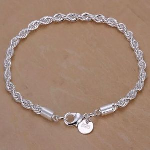 NEW 925 STERLING SILVER TWISTED ROPE CHAIN BRACELE